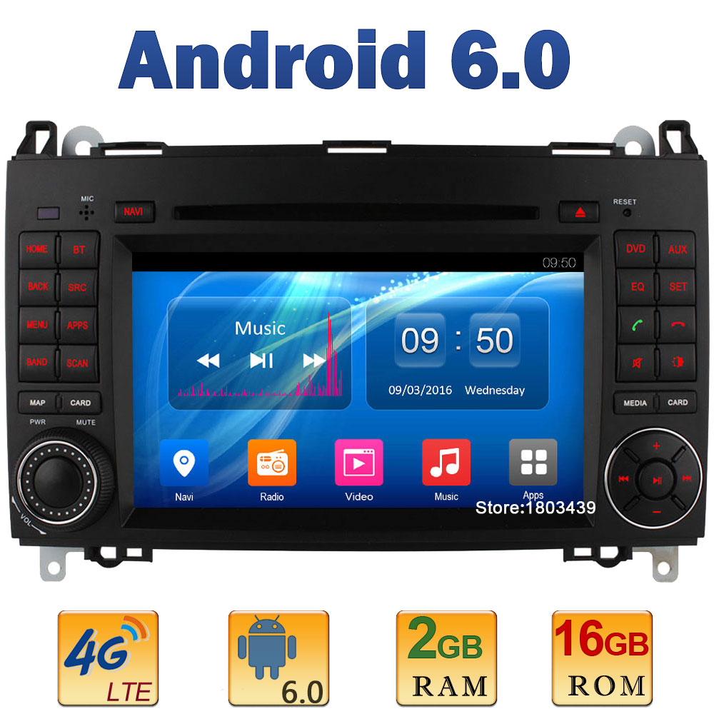 7 Quad Core 2GB RAM 4G LTE SIM WIFI Android 6 Car DVD Player Radio For