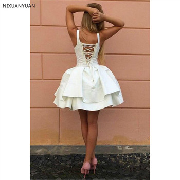 Sexy Criss-cross Straps Little Prom Dresses V Neck Tiered Short Party Dresses 2020 Puffy Cheap Prom Dress 3