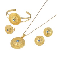 Bangrui Ethiopian Gold Set Jewelry Pendant Necklace Bangle Earrings Ring Gold Color Habesha African Wedding Bride
