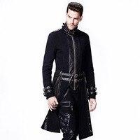 Steampunk gótico invierno chaqueta con cuello alto 2017 de los hombres aptos Chaquetas largo Abrigos para hombre hombres windbreakers