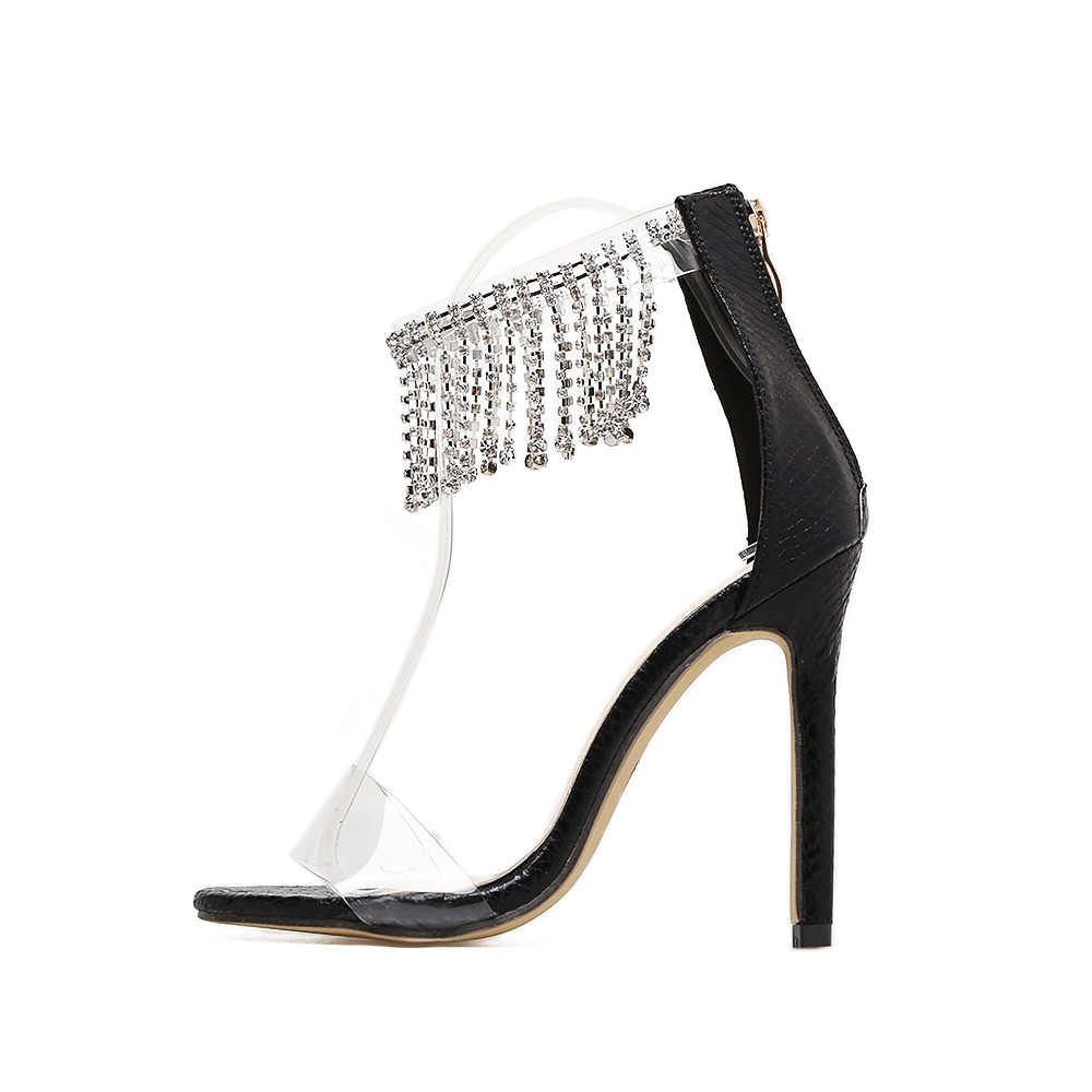 ffd3eb7fb3 AIYKAZYSDL Women Sandals Embossing Leather Pumps Wedding Shoes Crystal  Rhinestone High Heels Transparent Clear Ankle Stilettos