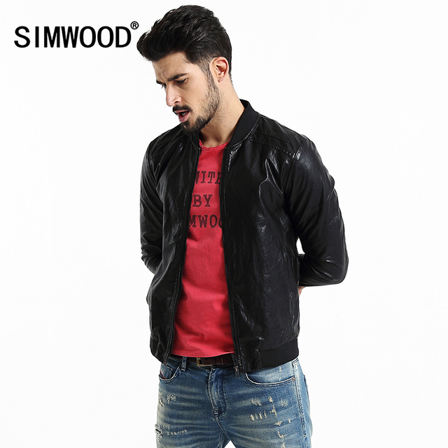 2016 New Arrival Simwood Brand Men Clothing Jackets Slim Fit Casual PU Coat Plus Size Free Shipping
