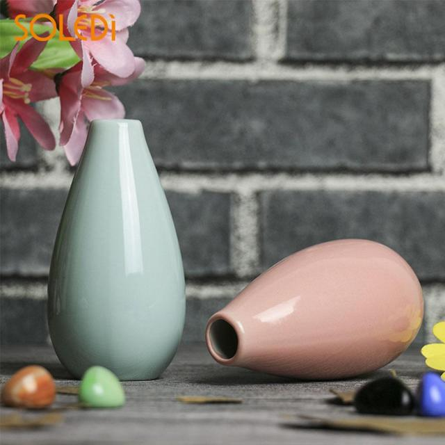 Nordic Home Smooth Ceramic Pottery Flower Pot Mini Vase Wedding Home Office Decor Ornaments Planter Decorative Crafts 3