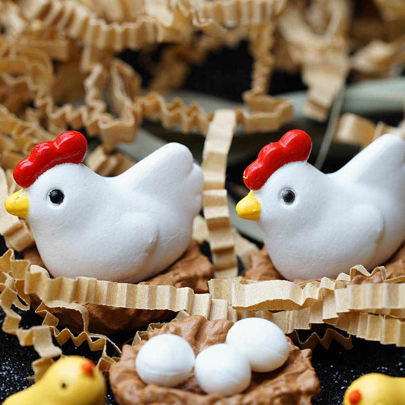 3PCS Resin Mini Chicken Family Craft Micro Fairy Garden Gnome Miniatures figurines Material Toy Ornament Terrarium Accessories