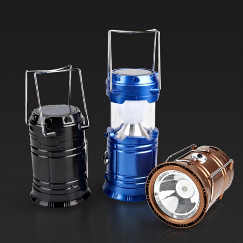 Camping Lantern LED Solar Rechargeable Camp Portable Flashlight Emergency Light Power Bank for Android Cell Phone