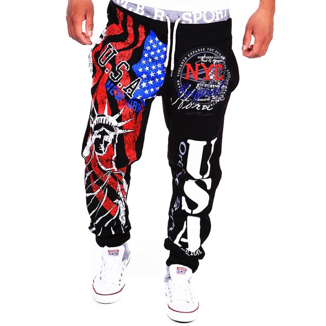 Luxury Brand Men Pants Plus Size Joggers Hiphop America National Flag Printing Letter Trousers casual Long sweatpants Streetwear