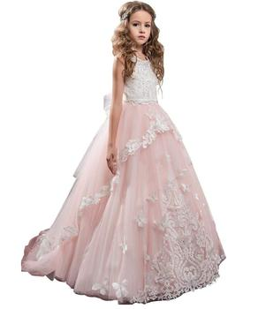 Flower Girl Dress Kids Lace Beaded Pageant Ball Gowns Cute Brithday party Dress Kids Clothing Communion Custom Made Dress