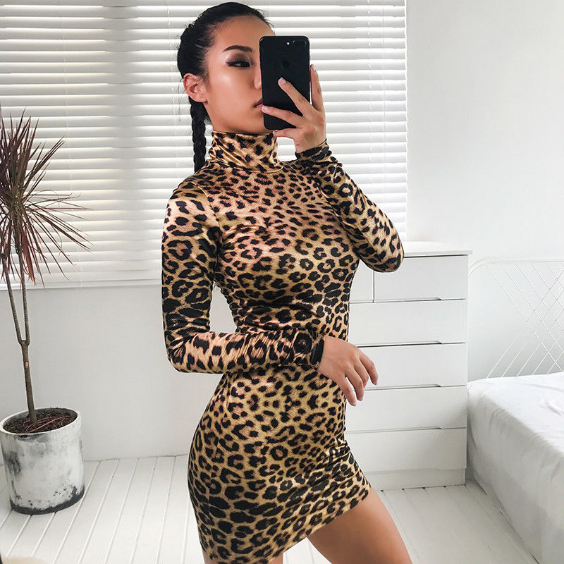 Women 39 s Bandage Leopard Bodycon Long Sleeve Sexy Party Club Short Mini Dress Wrap Hip Turtleneck Vintage Women Clothing 2019 in Dresses from Women 39 s Clothing