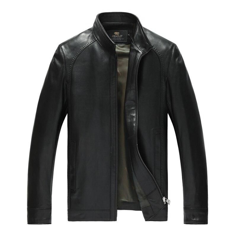 Factory Men s Genuine Leather Jacket For Men Real Matte Goat Skin Sheepskin Fashion Brand Black