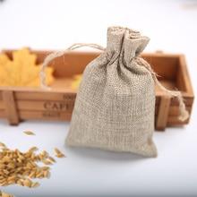 10 * 15Cm festive linen gift bag Christmas wedding candy drawstring packaging imitation hemp bundle pocket 20Pcs pumping