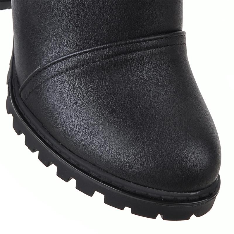 Plataforma black Zapatos white blanco Pie Alto Rodilla Fur De Mujer Negro Sexy With Dedo Negro Botas Invierno Cuadrados Tacones Con Piel Blanco Tacón La Redondo Sobre Enmayla Del Fur UqAwHFg