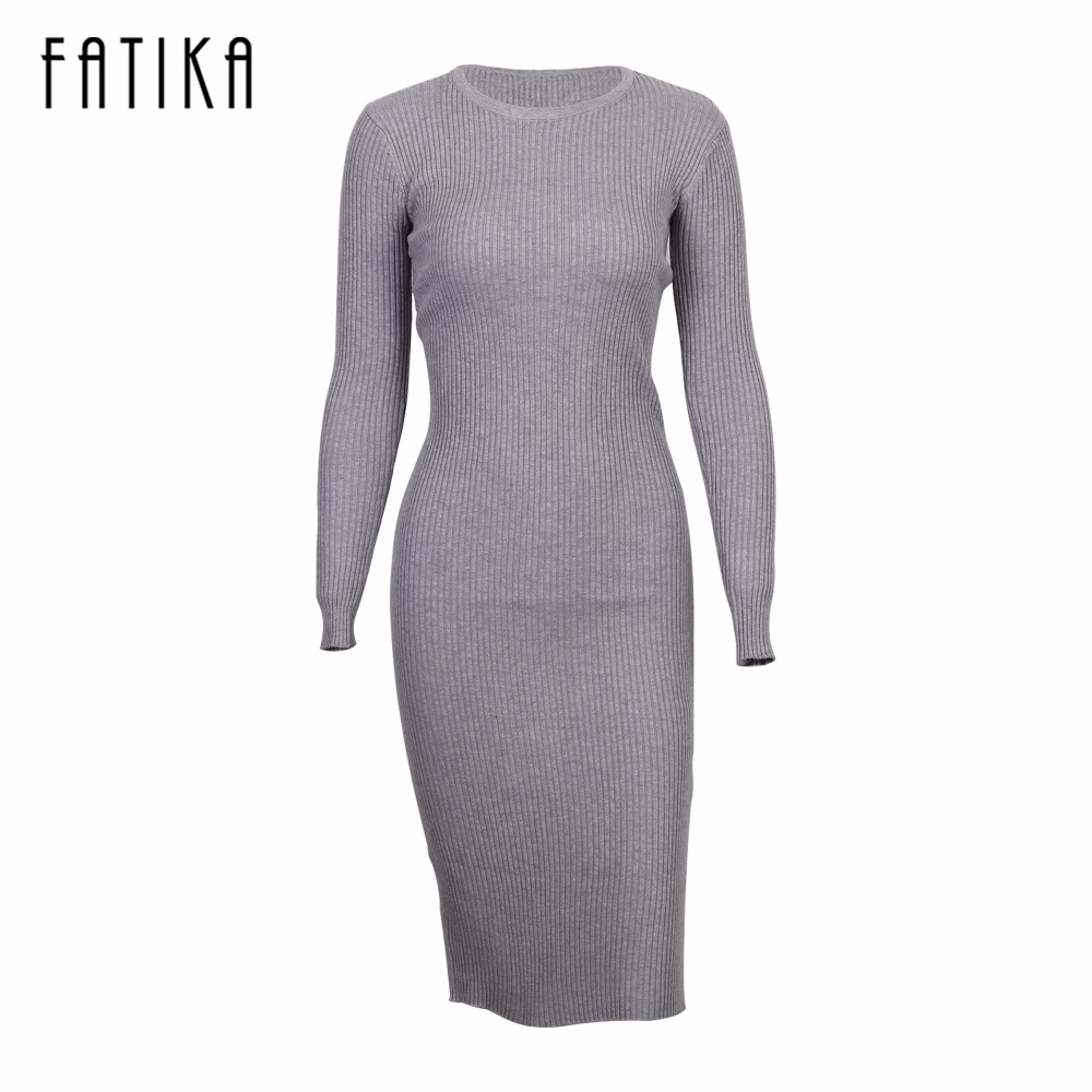 FATIKA 2017 Fashion Women Long Sleeve Bodycon Sexy Dresses Back Split O Neck Knitted Knee-Length Dress For Women цена