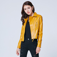 KoHuiJoo Black Red Yellow Pink Women S Short Washed PU Leather Jacket Zipper Candy Color Pockets