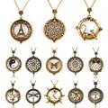 Declaración Vintage hombres mujeres Árbol de la vida gato mapa colgante, collar de arte lupa cabujón de cristal collares de joyería de cadena de bronce
