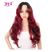 Deyngs Ombre Red Wig For Black Women 30inch Long Body Wave Synthetic Hair Wigs Naturally Hairline With Bangs High Temperature