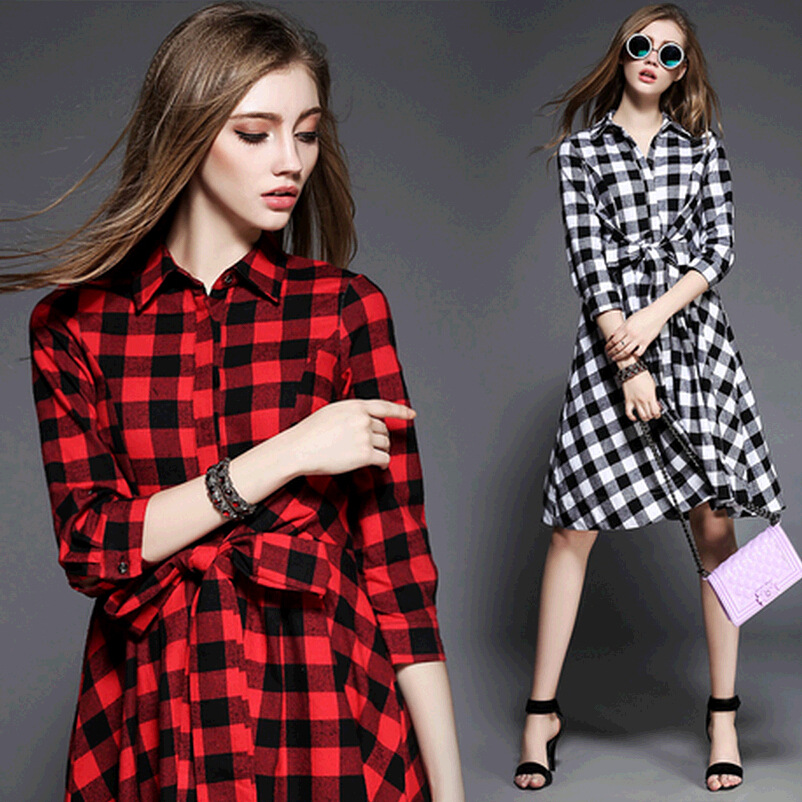 36f5cd0a3859 Red Black White Plaid Dress Women 3/4 Sleeve Knee Length Tunic Dress Ladies  Vestido Women Autumn Dresses With Long Sleeves 2015-in Dresses from Women's  ...