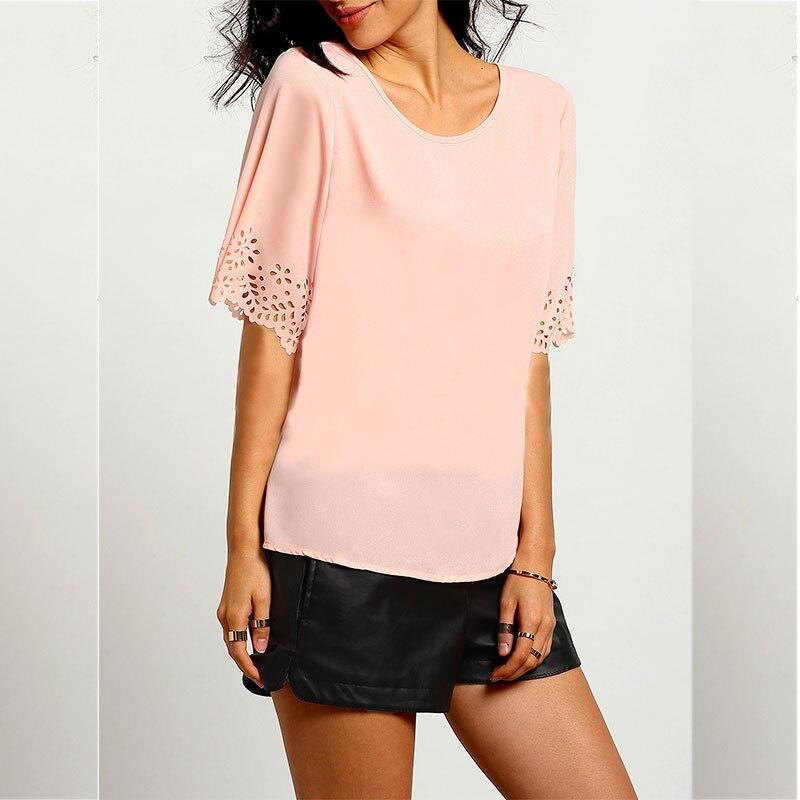Hollow Out <font><b>Pink</b></font> Women Chiffon <font><b>Shirt</b></font> 2016 New Casual O-neck Hollow Out <font><b>Nude</b></font> <font><b>Pink</b></font> Chiffon Blouse Summer Clothes For Women S22103