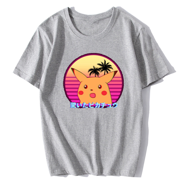 Pokemon Pikachu Sorprendido Vaporwave Camiseta (3 Colores)