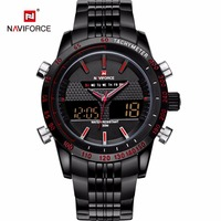 Naviforce LED Sports Men Watch Full Stainless Stell Analog Digital Quartz Wristwatches Fashion Army Military Montre