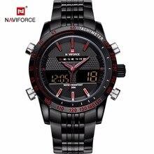 Naviforce Deporte LED hombres reloj completo acero inoxidable de cuarzo analógico digital relojes de pulsera de Moda Del Ejército militar montre homme RELOJ