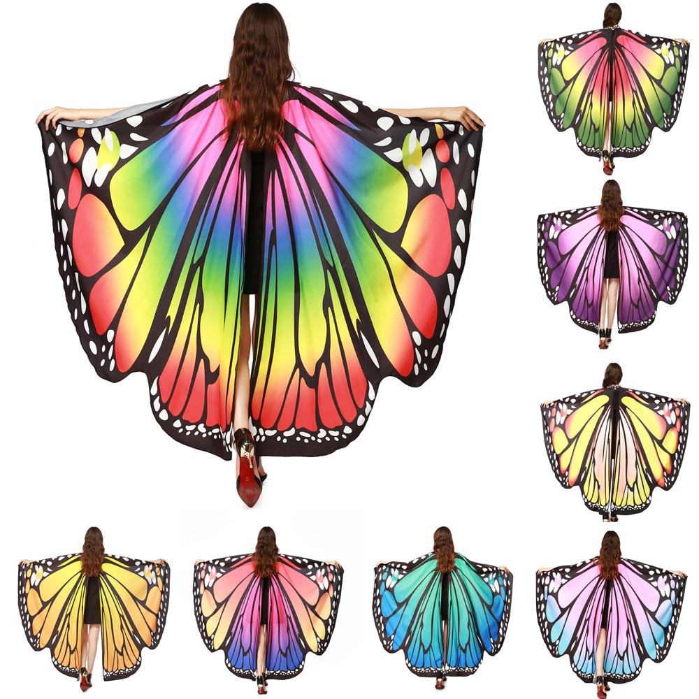 Women winter Butterfly Wings Shawl Scarves Ladies Nymph Pixie Poncho Costume Accessory echarpe hiver femme	abrigo mujer #TW