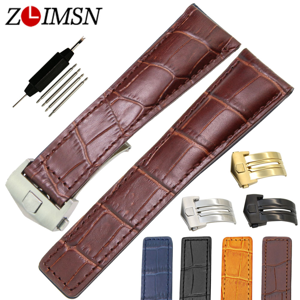 22mm Men Black Or Brown Watchbands Thin No Holes Genuine Leather Watch Bands Strap Relojes Hombre 2017 TAG104 от Aliexpress INT