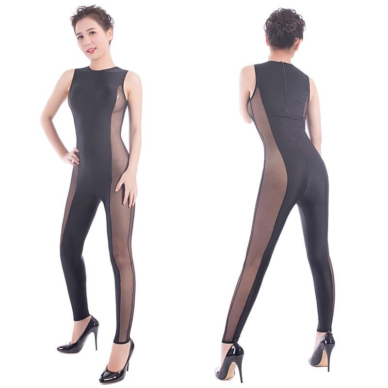 Sexy Women Sheer Spandex Striped Jumpsuit Catsuit Back Zip Skinny Full Body Bodysuit Pole Dancing Dance Wear Costume