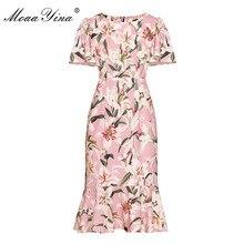 MoaaYina модное дизайнерское подиумное платье Весна Лето Женское платье Лилия цветочно-бисерный принт Элегантные платья русалки