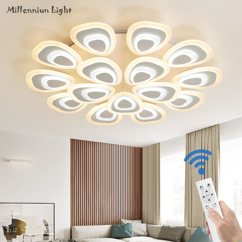 LED living room ceiling light Acrylic home bedroom Dining Room lights Smart Remote Dimming indoor ceiling light AC90-260V ...