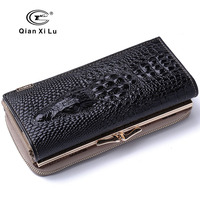 New Arrival Genuine Leather 3D Purse Women Crocodile Design Wallets High Quality Hasp And Zipper Long