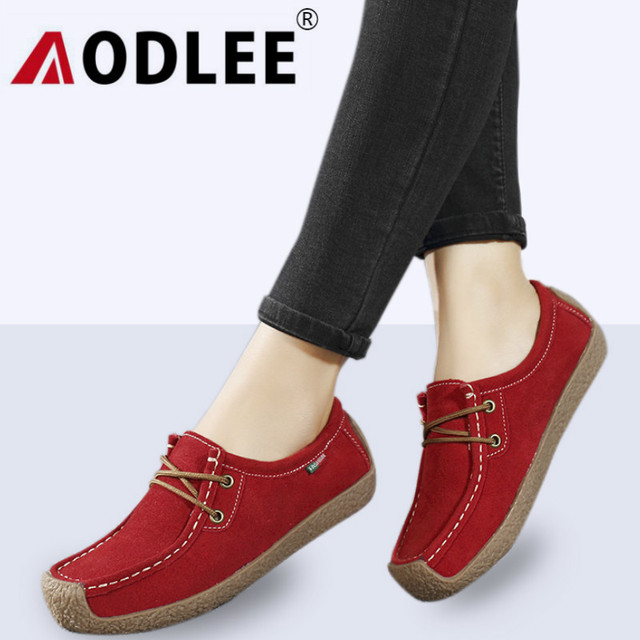 AODLEE Plus Size 41 42 Sneakers Women Oxford Shoes Flats Women Leather Shoes Women Loafers Derby Shoes Woman Lace up Moccasins