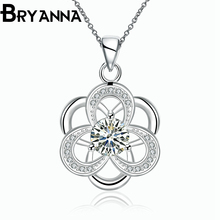 BRYANNA Classic Cute flower Pendant necklaces for women bijoux femme Fashion jewelry Zircon Silver Plated love Necklace N2741