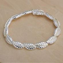 2016 Hot Silver Color Jewelry bracelet, silver plated wristlet vintage-accessories Feather Bracelet /ZPXJKHVG VHUBOHGPI