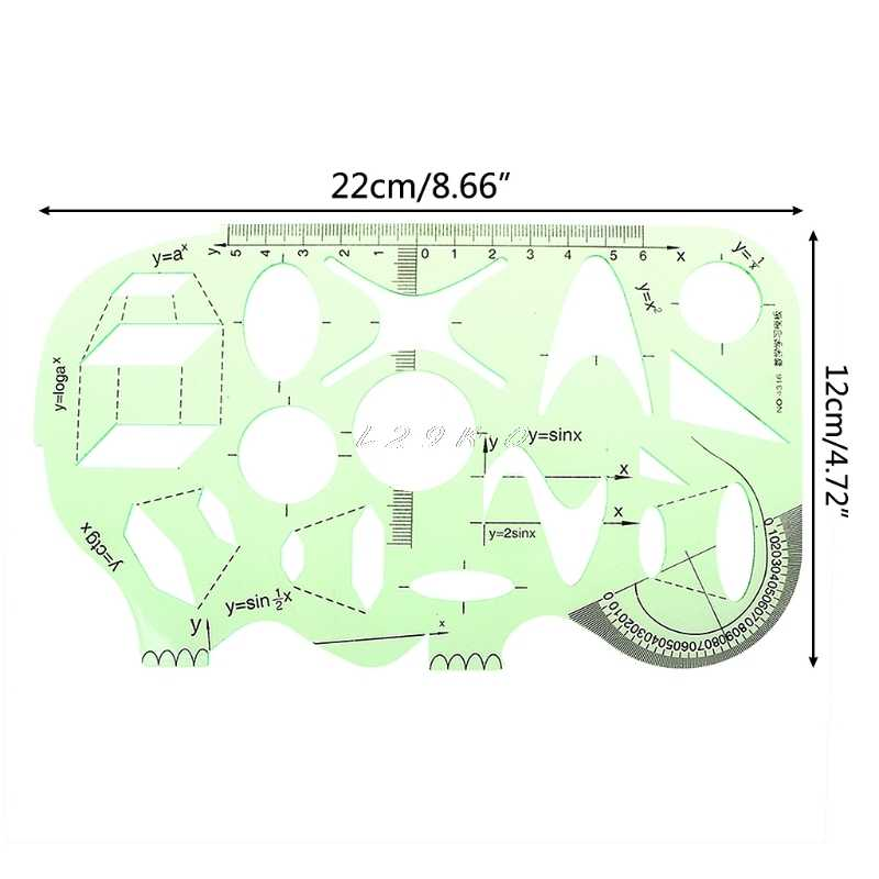 Geometric Drawing Template Measuring Ruler Round Shape 22cm for Drawing