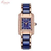 Kimio Woman Roman Numerals Rhinestone Watches Fashion Ladies Crystal Clock Black Ceramics Gold Luxury Waterproof Diamond