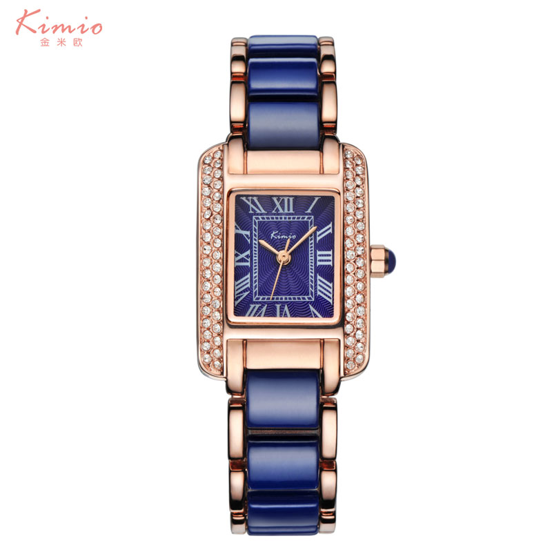 Kimio Woman Roman Numerals Rhinestone watches Fashion Ladies Crystal Clock Black Ceramics Gold Luxury Waterproof Diamond Watch kimio ultra slim top brand woman watches fashion ladies crystal clock black ceramics gold luxury women rhinestone diamond watch