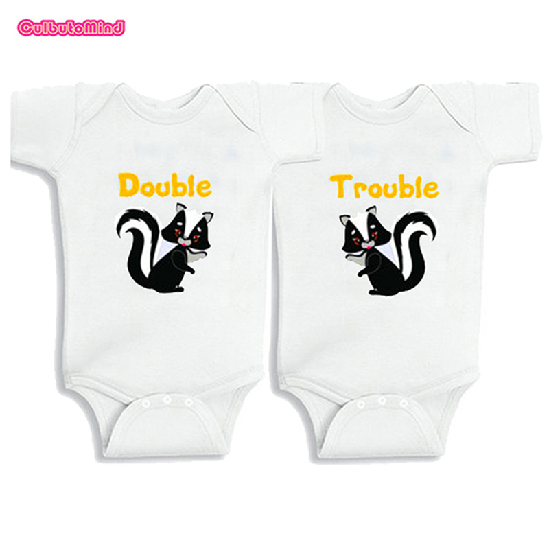 Culbutomind Double Trouble Twins Baby Clothes Set of 2 Baby Boy Girl Clothes Baby Bodysuits Jumpsuit 0-12M 1st Birthday Gift