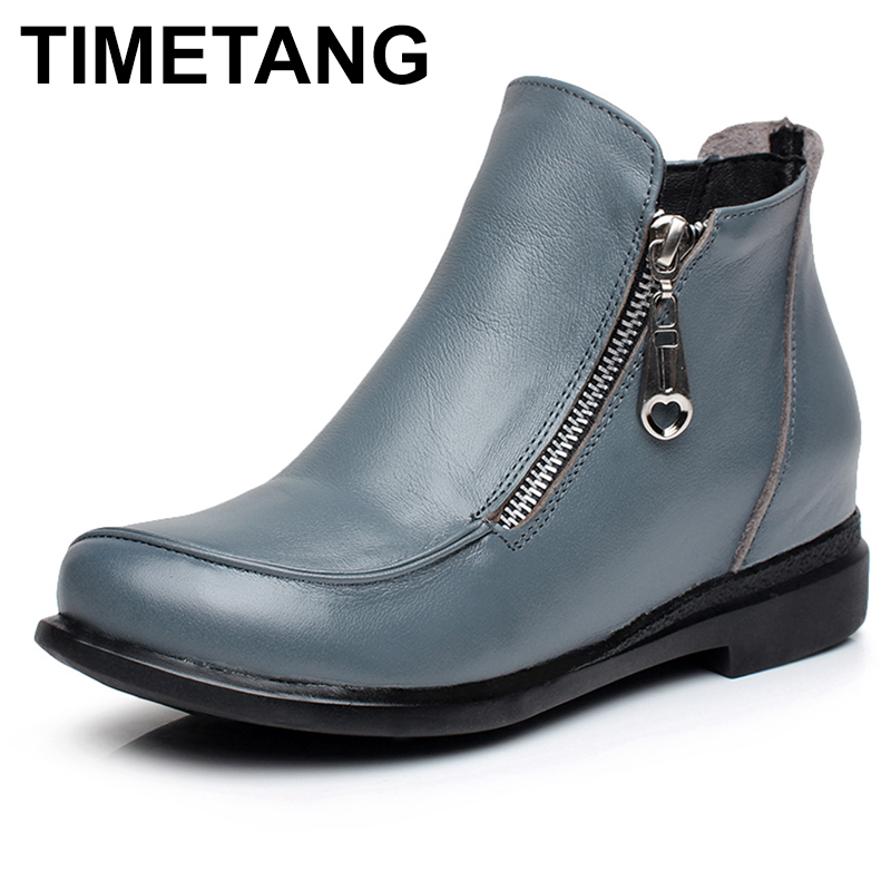 TIMETANG Autumn Winter Genuine Leather Women Boots Fashion Flat Heels Shoes Round Toe Ladies Boots Female Casual Zipper Ankle autumn winter women boots fashion flat heel casual zipper ankle boots genuine leather round toe platform martin boots k573