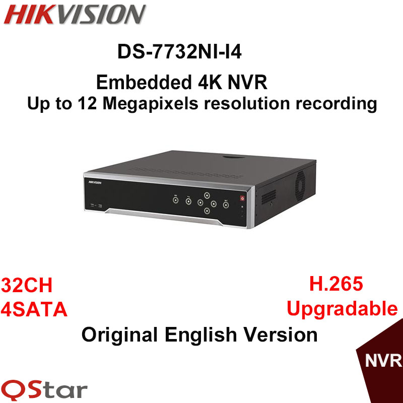 Hikvision Original English Version DS-7732NI-I4 Embedded 4K NVR 32ch 4SATA 12mp Third-party Network Cameras