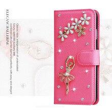 De luxe Femmes Fille Lady 3D Mignon Strass Diamant + Flip Housse En Cuir Pour iphone Tactile 4S/5/5S/SE/6/6 S/iphone 7 plus couvre