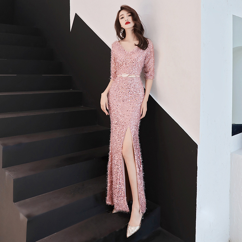 Luxury Long Mermaid   Evening     Dress   Pink V Neck Elegant Prom Gowns Robe De Soiree Sexy Sequins Party Formal   Dresses   Vestidos