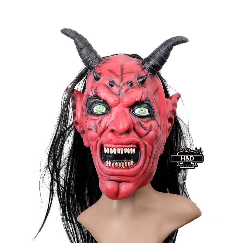 Scary Latex Long Red Devil Horns Mask Full Face Horror Halloween Ghost Terror Cosplay Prank Masquerade Fancy Costume Party Prop