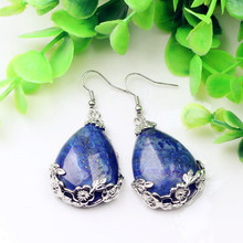 100-Unique 1 Pair Silver Plated Water Drop Lapis Lazuli Dangle Earrings Elegant Women Earrings For Anniversary Gift все цены