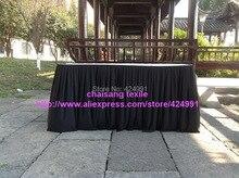 2 stücke Dickere #25 Schwarz Orgel Runzlig Plissee Braut Tabelle Sockelleisten mit clips für Hochzeit, 75 cm x 460 cm Rechteck Tisch Sockel