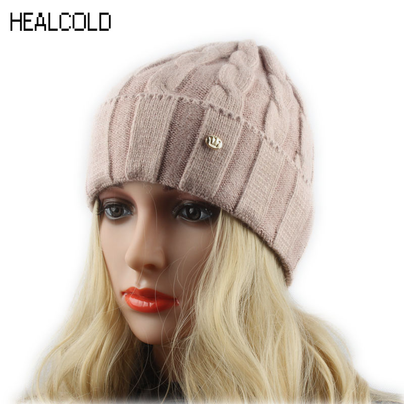 Ladies Winter Wool hats For Women Knitted Beanies Warm Cap Casual Outdoor Skullies