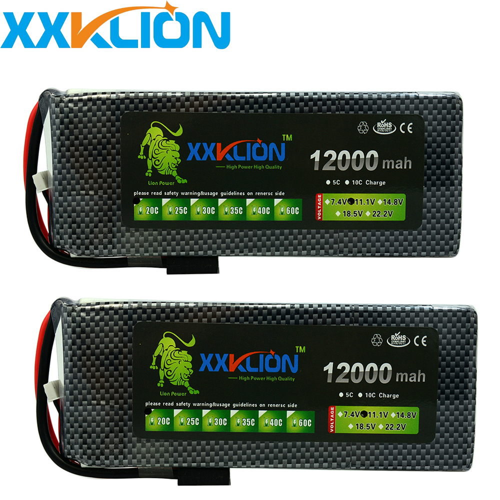 2pcs XXKLION 11.1v <font><b>12000mAh</b></font> 20C 25C 30C <font><b>3S</b></font> <font><b>Lipo</b></font> drone battery pack for rc airplane Aerial multi - axis unmanned aerial vehicle image