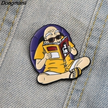 L2302 Dongmanli Dragon Ball Z Cute Master Roshi Kame Sennin Metal enamel badges pin brooch backpack Collar Jewelry 100% original bandai tamashii nations s h figuarts shf exclusive action figure kame sennin master roshi from dragon ball