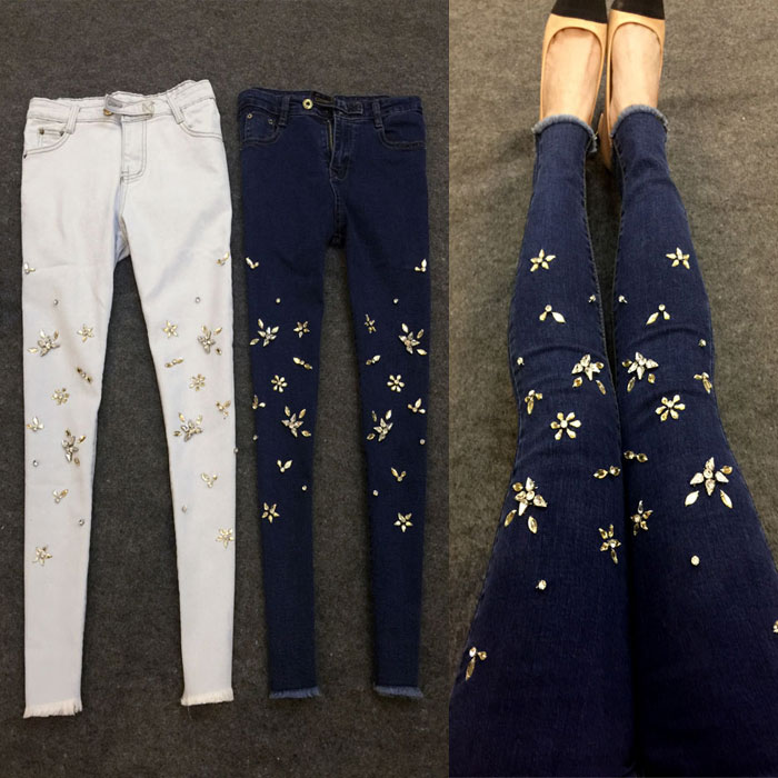 plus size 26-32!Rhinestone stretch high waist jeans women fashion ankle length skinny pencil jeans