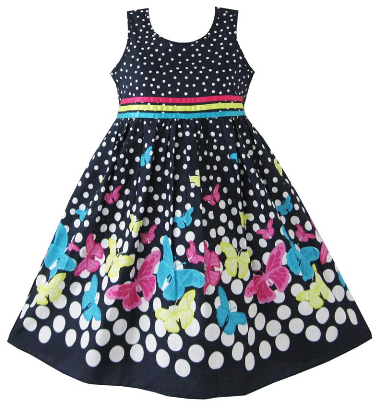 Girls Dress Navy Blue Butterfly Party Princess Child Clothes Cotton 2017 Summer Wedding Dresses Kids Clothes Size 4-12 Pageant sunny fashion girls dress butterfly party birthday sundress 2017 summer princess wedding dresses kids clothes size 5 12 pageant