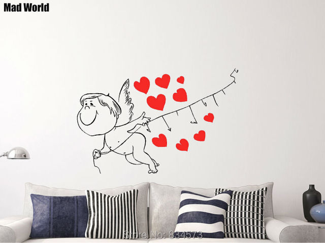 Mad World Love Cupid Heart Romantic Valentine Wall Art Sticker Wall ...